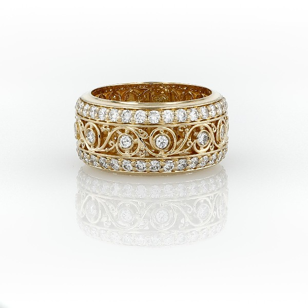 Bella Vaughan for Blue Nile Lace Diamond Eternity Ring in 18k Yellow Gold