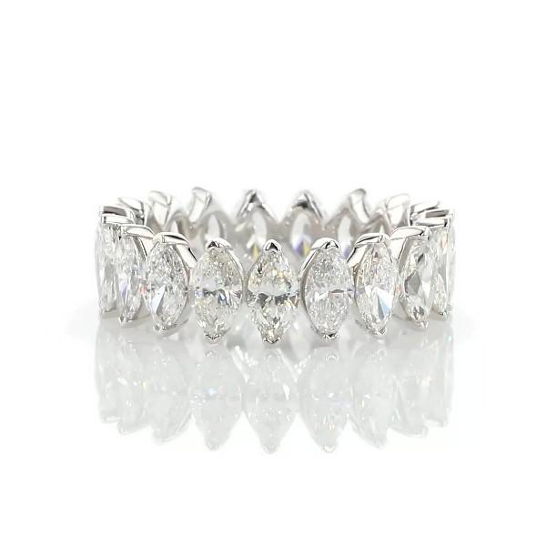 Anillo de eternidad de diamantes de talla marquesa norte-sur en oro blanco de 14 k (3 3/4 ct total)