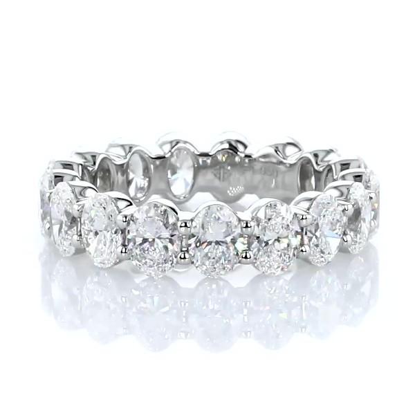 Oval Cut Diamond Eternity Ring in Platinum (4.0 ct. tw.)