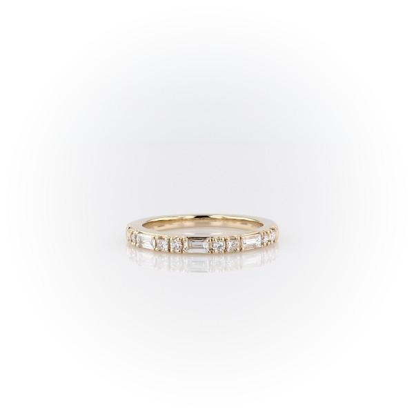 14k 金点划线钻石戒指(1/4 克拉总重量)