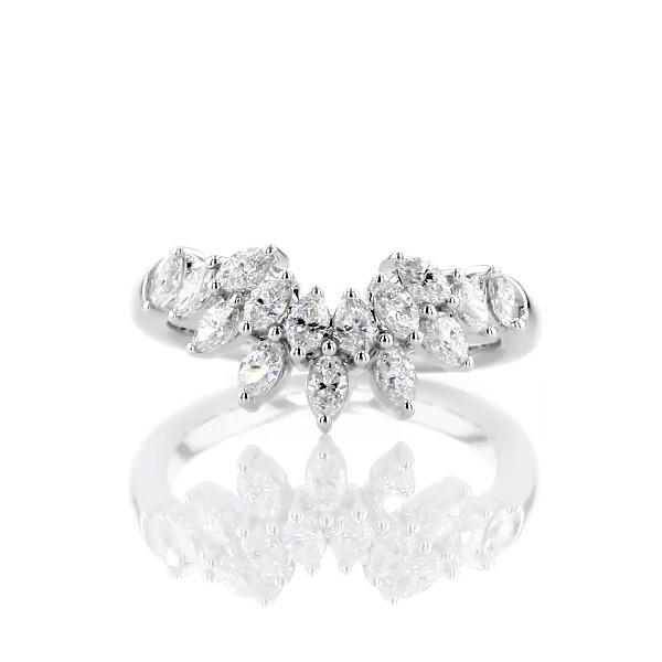 14k 白金马眼形钻石皇冠结婚戒指(5/8 克拉总重量)
