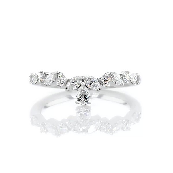 Mixed Shape Diamond Tiara Curved Wedding Ring in 14k White Gold (1/2 ct. tw.)