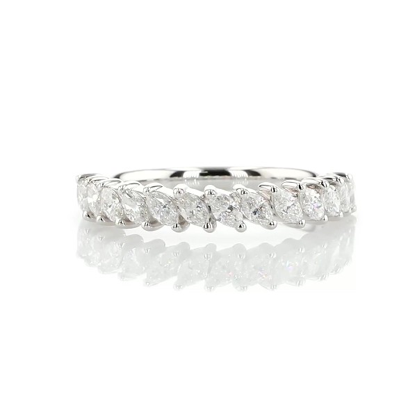Alliance diamants marquise avec angles en or blanc 14 carats (3/4 carat, poids total)