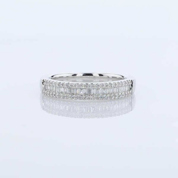 Baguette & Pavé Diamond Channel Wedding Band in 14k White Gold (0.23 ct. tw.)