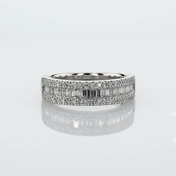 Baguette & Pavé Diamond Channel Wedding Band in 14k White Gold (0.48 ct. tw.)