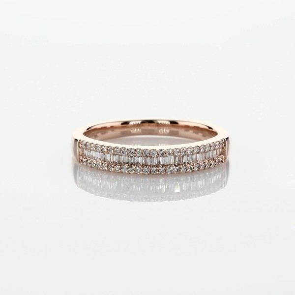 Baguette Cut & Round Pavé Diamond Channel Wedding Band in 14k Rose Gold- I/SI2 (1/4 ct. tw.)