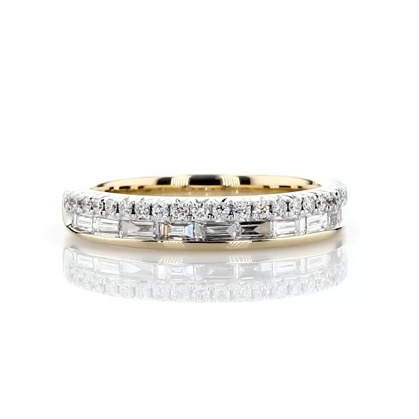 ZAC Zac Posen Double Row Baguette & Pavé Diamond Wedding Ring in 14k Yellow Gold