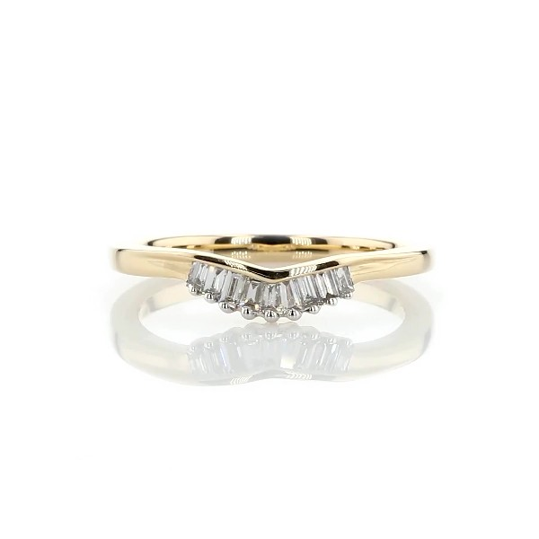 ZAC Zac Posen Petite Baguette Diamond Tiara Curved Wedding Ring in 14k Yellow Gold (0.13 ct. tw.)