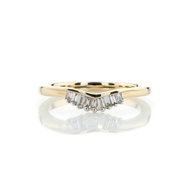 Anillo de bodas curvo y pequeño con tiara de diamantes de talla baguette ZAC de Zac Posen en oro amarillo de 14k (1/8 qt. total)