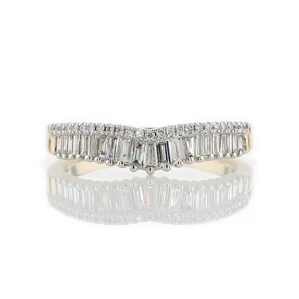 Alliance couronne incurvée avec diamants sertis pavé et diamants taille baguette ZAC Zac Posen en or jaune 14carats (3/8carats, poids total)
