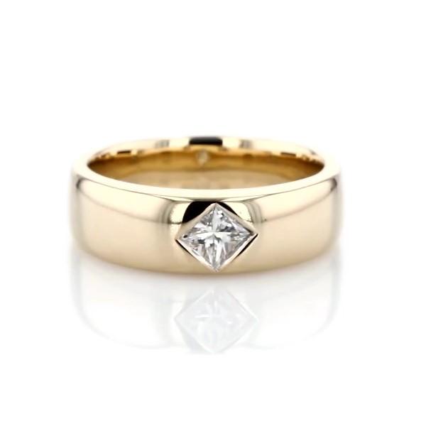 14k 黃金ZAC Zac Posen 羅盤式鑲嵌法公主方形單鑽戒指(1/4 克拉總重量)