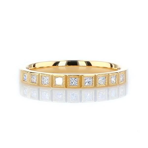 14k 黃金ZAC Zac Posen 現代風鋸狀細節公主方形鑽石戒指(1/5 克拉總重量)