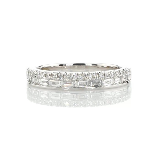 ZAC Zac Posen Double Row Baguette & Pavé Diamond Wedding Ring in 14k White Gold