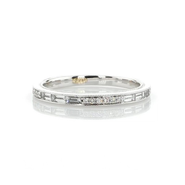 ZAC Zac Posen Baguette & Round Diamond Milgrain Edge Eternity Wedding Ring in 14k White Gold (0.54 ct. tw.)