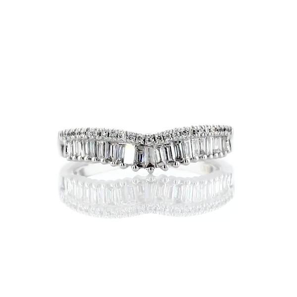 14k 白金ZAC Zac Posen 長方形和密釘鑽石皇冠曲線結婚戒指(3/8 克拉總重量)