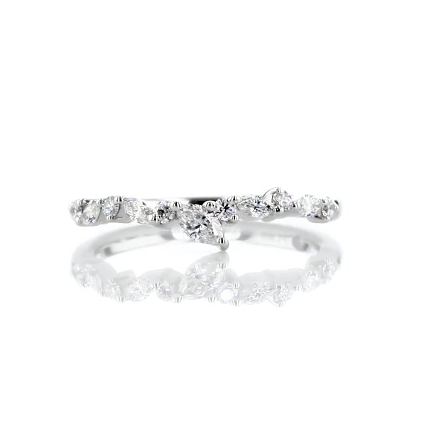Monique Lhuillier Marquise Diamond Leaf Curved Band in Platinum