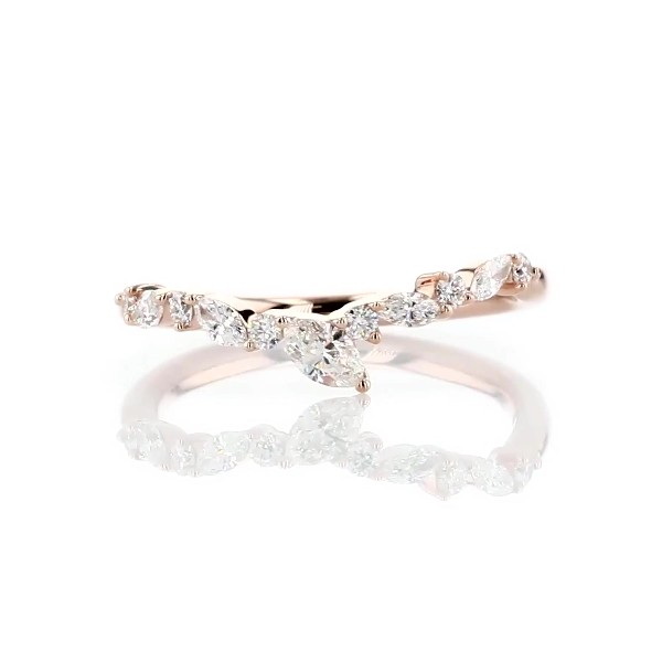 Monique Lhuillier Marquise Diamond Leaf Curved Band in 18k Rose Gold (1/4 ct. tw)