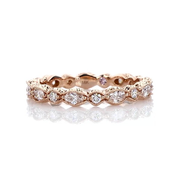 Monique Lhuillier Alternating Marquise & Round Eternity Band in 18k Rose Gold