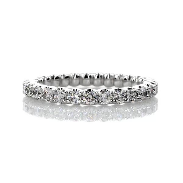 14k 白金月神鑽石永恆戒指(1 克拉總重量)