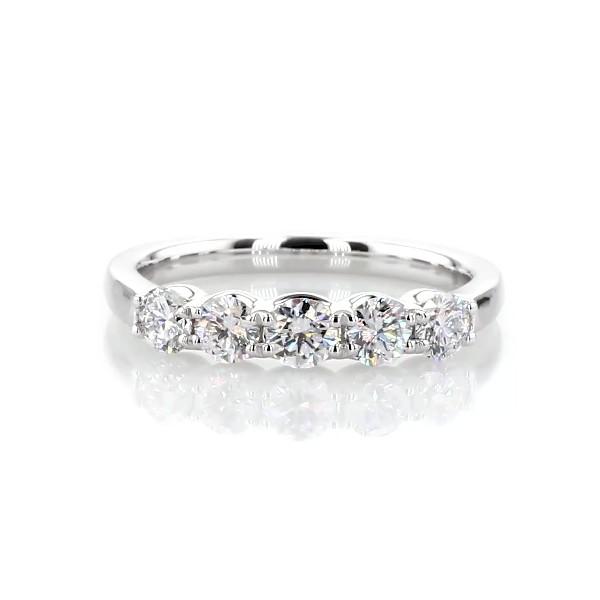 14k 白金 Selene 五石钻石周年纪念戒指(3/4 克拉总重量)