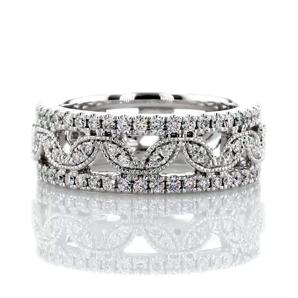 Open Leaf Diamond Eternity Band in 14k White Gold (1 ct. tw.)