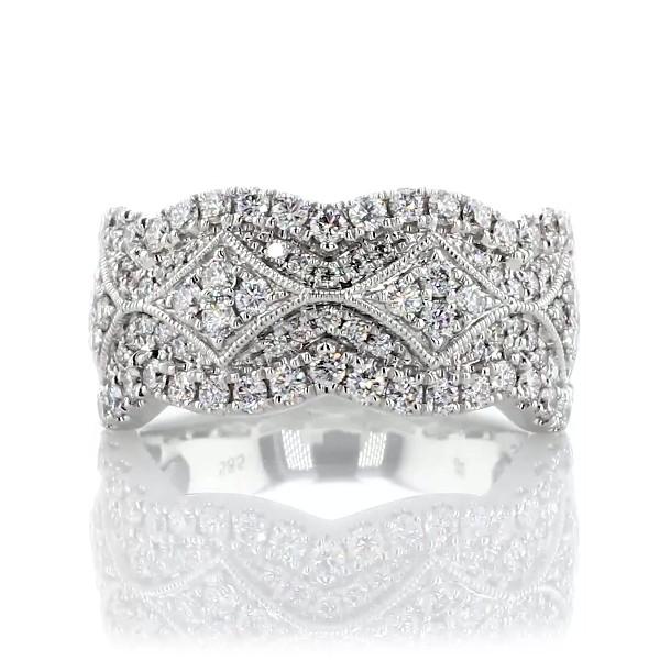 14k 白金扇貝裝飾與鋸狀鑽石週年紀念戒指(1 克拉總重量)