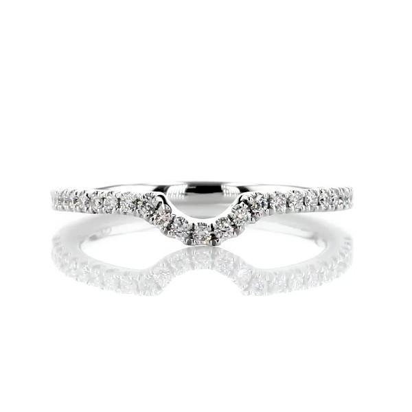 14k 白金弧形密钉钻石结婚戒指(1/6 克拉总重量)