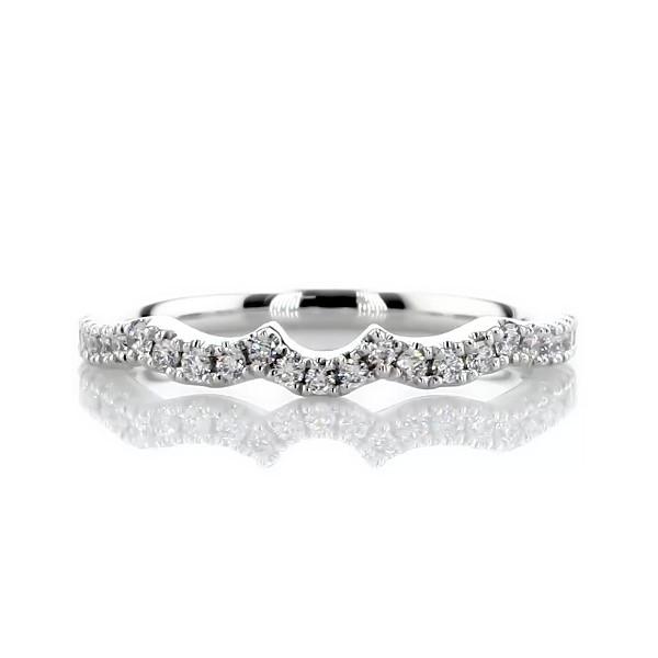 14k 白金扇贝形钻石结婚戒指(1/5 克拉总重量)