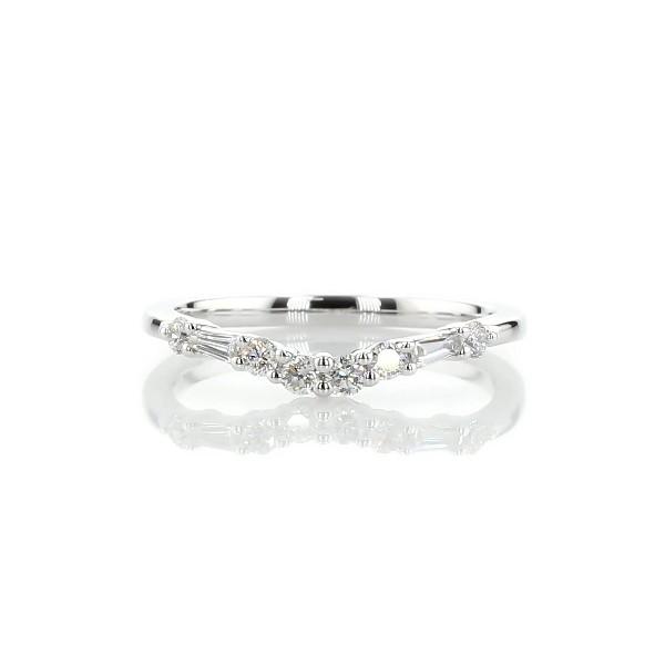 14k 白金珠连柱钻石弧形结婚戒指(1/4 克拉总重量)