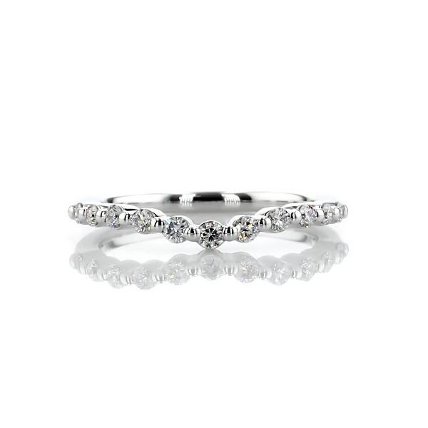 Alliance incurvée avec diamants flottants en or blanc 14carats (1/4carat, poids total)