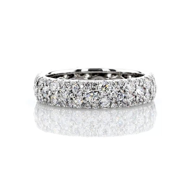 Sleek Diamond Dome Eternity Ring in 18k White Gold - H/VS2  (1.95 ct. tw.)