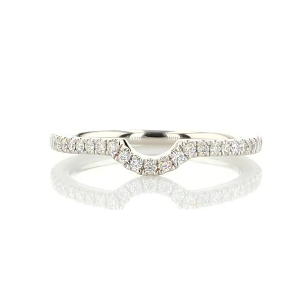 Curved Pavé Diamond Wedding Ring in Platinum (1/6 ct. tw.)