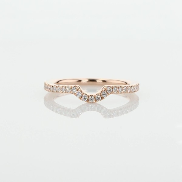 Curved Pavé Diamond Wedding Ring in 14k Rose Gold (1/6 ct. tw.)