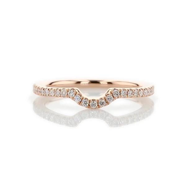 14k 玫瑰金弧形密钉钻石结婚戒指(1/6 克拉总重量)