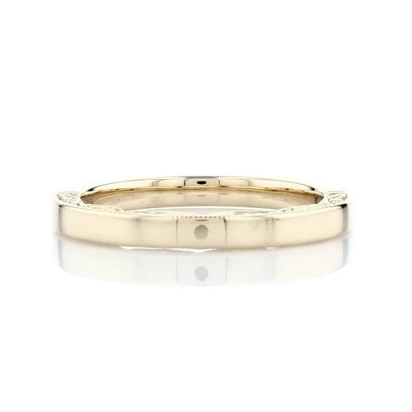 Diamond Pave and Milgrain Profile Wedding Ring in 14k Yellow Gold