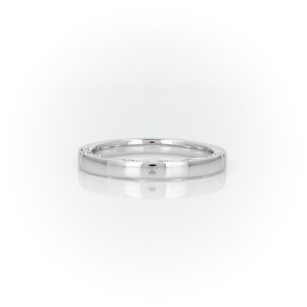 Diamond Pave and Milgrain Profile Wedding Ring in 14k White Gold