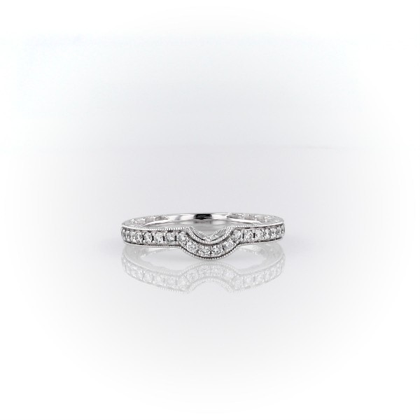 Curved Diamond and Milgrain Engraved Profile Wedding Ring in 14k White Gold (1/4 ct. tw.)