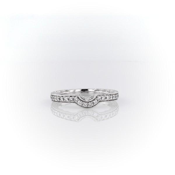 14k 白金弧形钻石和锯状滚边刻纹剖面结婚戒指<br>(1/4 克拉总重量)