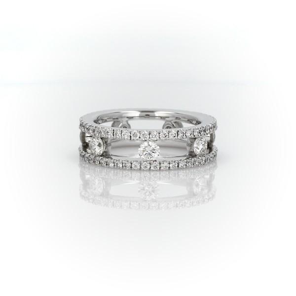 Open Trio Diamond Eternity Ring in 18k White Gold