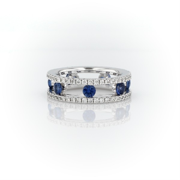 Open Trio Diamond and Sapphire Eternity Ring in 18k White Gold (3/4 ct. tw.)