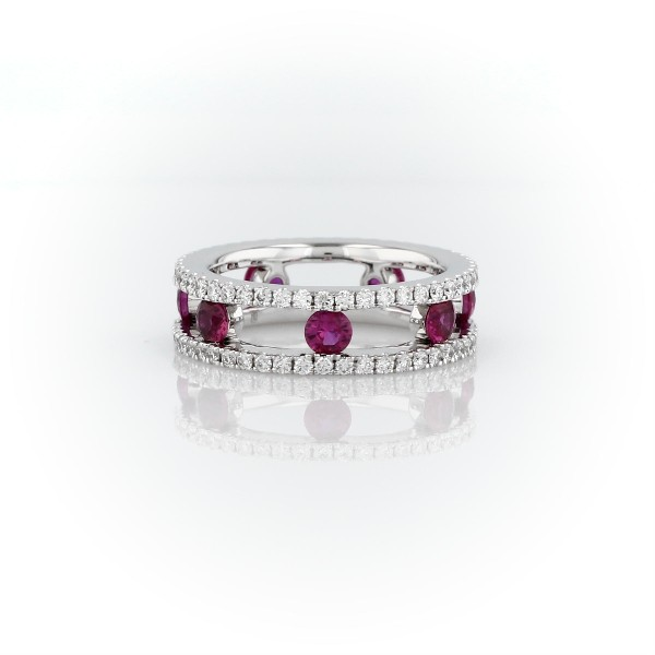 Open Trio Diamond and Ruby Eternity Ring in 18k White Gold