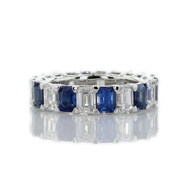 Blue Nile Studio Seamless Sapphire and Diamond Emerald-Cut Eternity Band in Platinum- G/VS2 (2 1/2 ct. tw.)