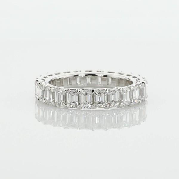 鉑金 Blue Nile Studio 綠寶石切割鑽石無縫相連永恆戒指 - G/VS2 (3 克拉總重量)
