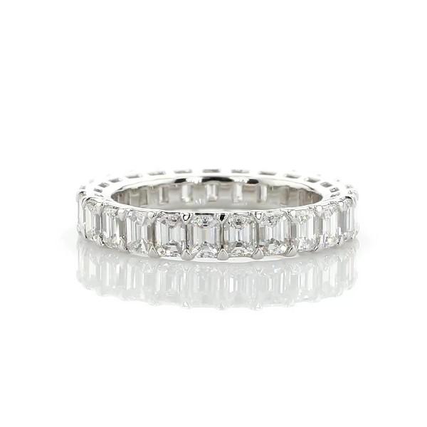 铂金 Blue Nile Studio 无缝祖母绿切割钻石永恒结婚戒指 - G/VS2 (3 克拉总重量)