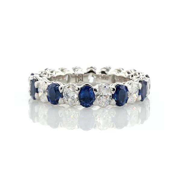 Anneau d'éternité homogène avec alternance de saphirs et diamants taille ovale Blue Nile Studio en  Platine - G/VS2 (1 1/2carats, poids total)
