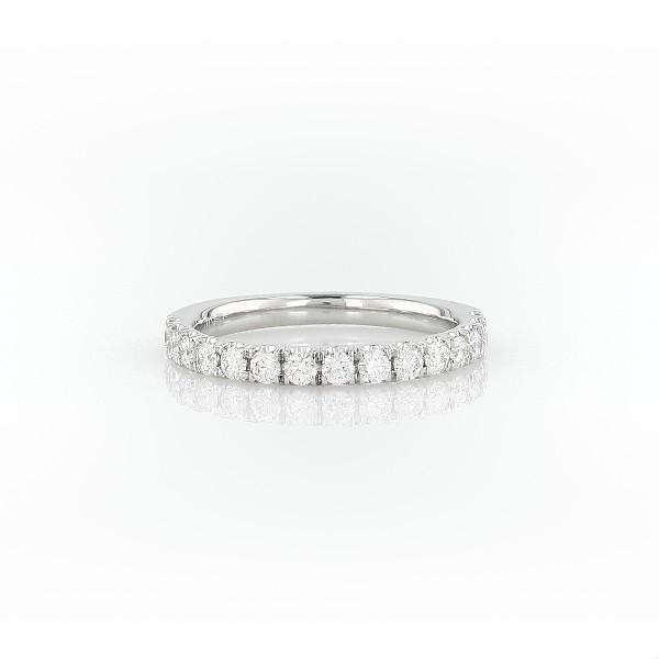 鉑金扇貝形密釘鑽石戒指(1/2 克拉總重量)