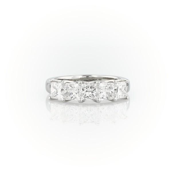 铂金 Blue Nile 精选级五石公主方形切割镶钻戒指<br>(2 克拉总重量)