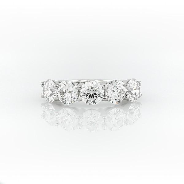 Blue Nile Signature Five Stone Diamond Ring in Platinum (3 ct. tw.)