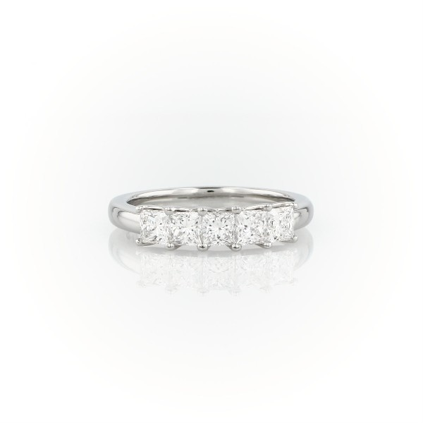 Blue Nile Signature Five-Stone Princess-Cut Diamond Ring in Platinum (1 ct. tw.)