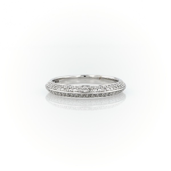 Knife Edge Micropavé Diamond Ring in 14K White Gold (0.35 ct. tw.)